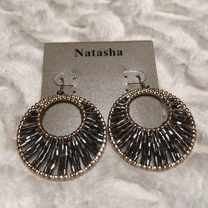 Natasha Gold Beaded Hoop Earrings NWT